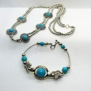 Set of Turquoise Necklace and Bracelet Silvertone